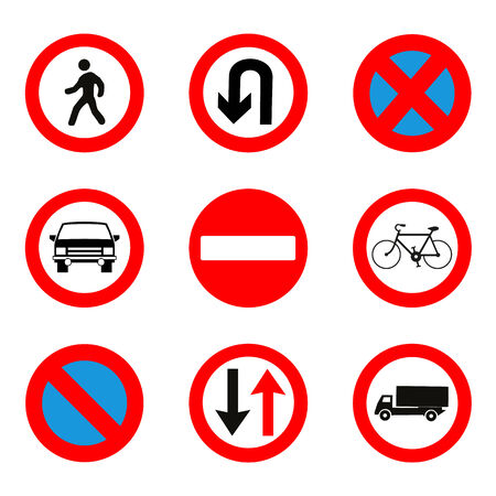 u turn: Traffic Signs Set