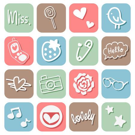 hello heart: Sweet Cute Icons Set Illustration