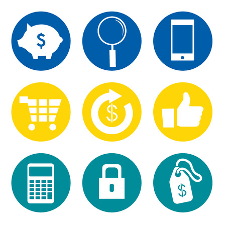 stock quotes: Bank Icons Set Illustration