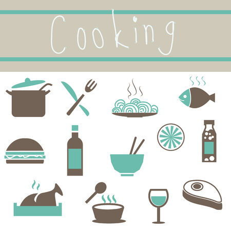 utensilios de cocina: Amor Utensilios Icons Set