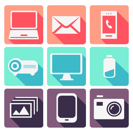 electronic devices: Modern Electronic devices set Illustration