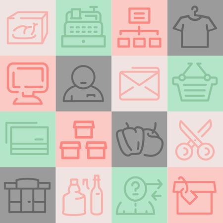 package printing: Supermarket Icons Set