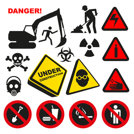 Warning Dangerous Label Signs Vector