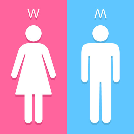 girl toilet: Men and Women toilet sign great for any use. Vector EPS10.