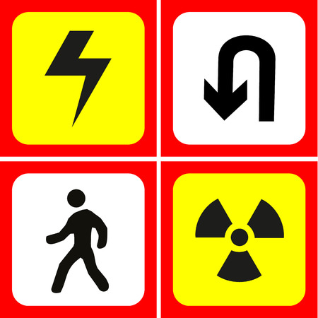 u turn: Danger and warning icons set great for any use. Vector EPS10.