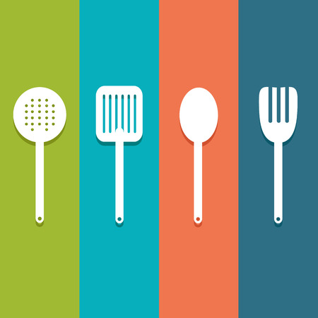 Tableware Serving Utensils icons set great for any use. Vector EPS10. Illusztráció