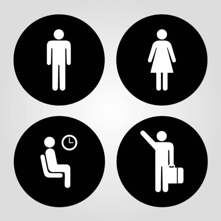 stick figure: Man Woman and Worker icon great for any use. Vector EPS10.