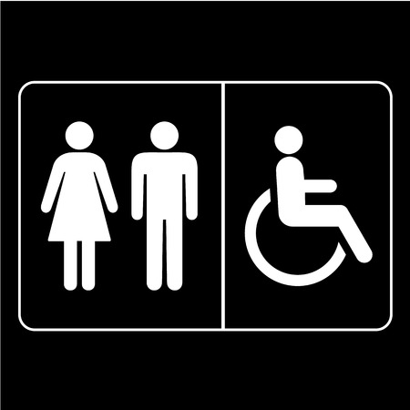 Person and disabled person sign icons set great for any use. Vector EPS10. Vector