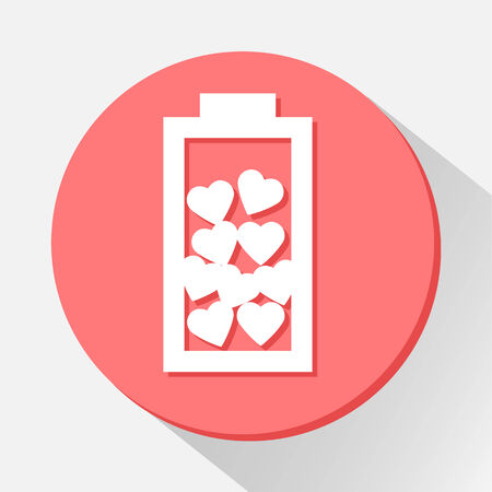 Love battery with hearts icon great for any use. Vector EPS10. Vector