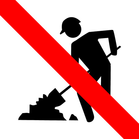 dredge to dig: Not Dig icon great for any use. Vector EPS10. Illustration