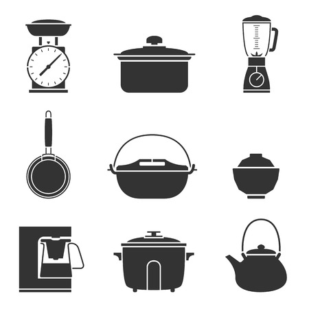 crock pot: Kitchen tools icons set great for any use. Vector EPS10.