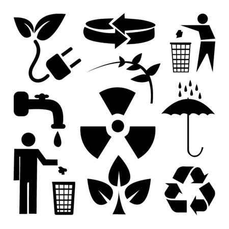 cleaning planet: Recycle and ecology icons set great for any use. Vector EPS10.