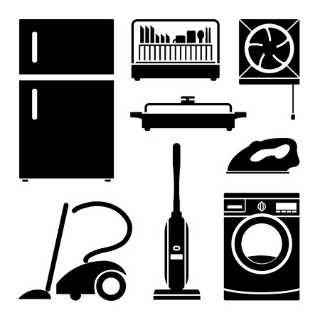 iron fan: Electronics Home icons set great for any use. Vector EPS10. Illustration