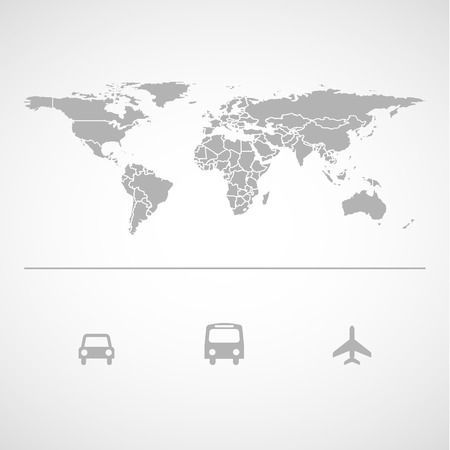 airplane icon: Map Landmass and transportation icon great for any use.