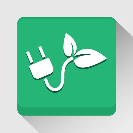 Ecology with electric plug icon great for any use.  Vector