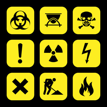 carcinogen: symbols warning hazard icons set great for any use.