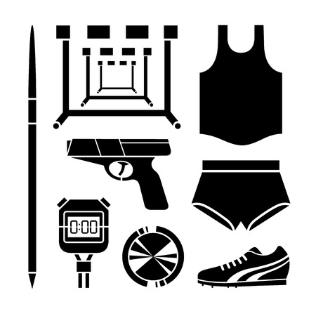 smock: Sport accessories icons set great for any use.  Illustration