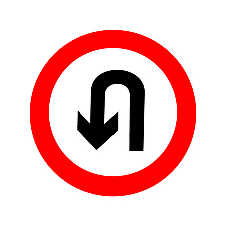 U-Turn road sign. icon great for any use. Reklamní fotografie - 36125410