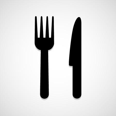 cuchillo de cocina: Cuchillo y tenedor icono de grandes para cualquier uso. Vector EPS10.