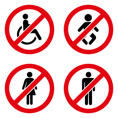 no label: Prohibiting signs icons set great for any use.