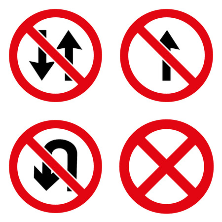 no u turn sign: Prohibition signs icons set great for any use.