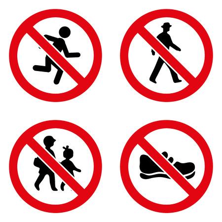 zapatos de seguridad: Señales de prohibición icono grande para cualquier uso.