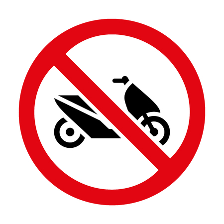illegal zone: motorcycle prohibition sign icon great for any use.
