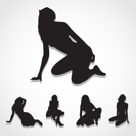 naked woman  white background: Silhouettes Sexy Girl in various Poses, icons set great for any use. Illustration