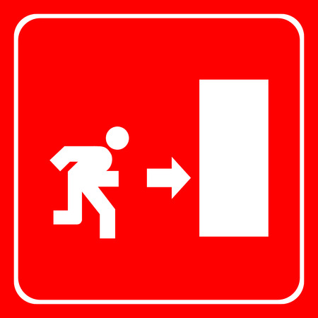 going away: fire exit icon Illustration