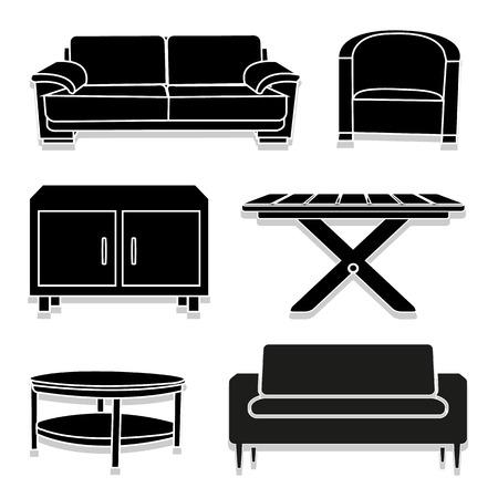 dining room: dining room icons set Illustration