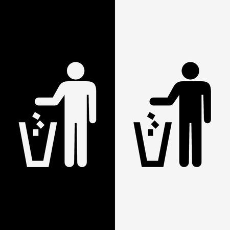 cesto basura: iconos de basura establecen grandes para cualquier uso. Vectores