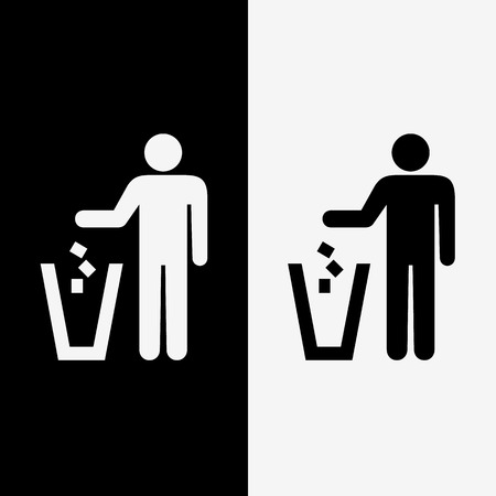 trash icons set great for any use. Illustration