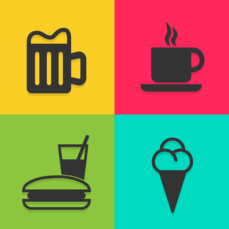 great coffee: coffee shop icons set great for any use.