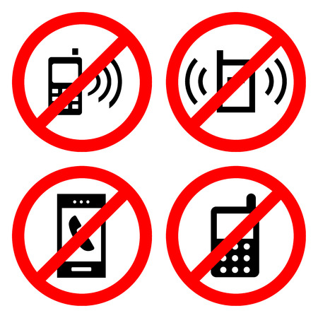 no cell phone: No cell phone sign icons set  great for any use. Illustration