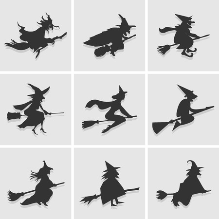 woman flying: witch icon great for any use.  Illustration