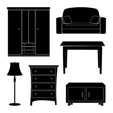dining set: dining room icons set great for any use. Illustration