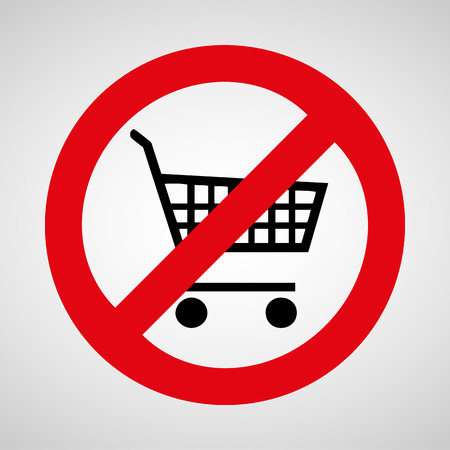No shopping cart icon great for any use.  Иллюстрация