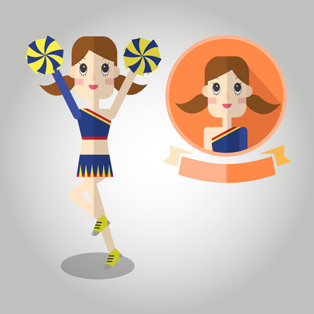 midsection: cheerleaders Mascot cartoon great for any use.