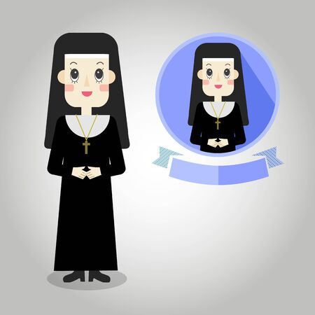 religious habit: Nun Mascot cartoon great for any use.  Illustration