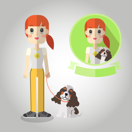dog on leash: Leash dog walking Mascot cartoon great for any use.