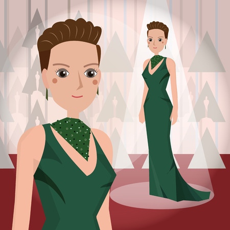 one girl only: womein in green dress Mascot cartoon great for any use. Illustration