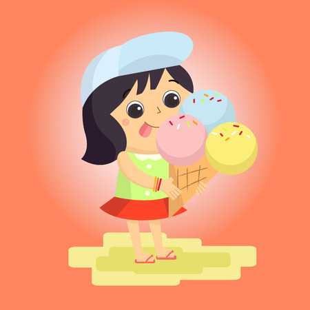 portrait young girl studio: girl ice cream Mascot cartoon great for any use.