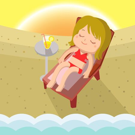 sunbathe: Girl Sunbathe Mascot cartoon great for any use.