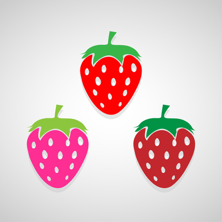 strawberry icons set great for any use.  Illustration