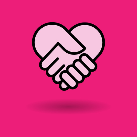 colorful heart: check hand heart icon great for any use.  Illustration
