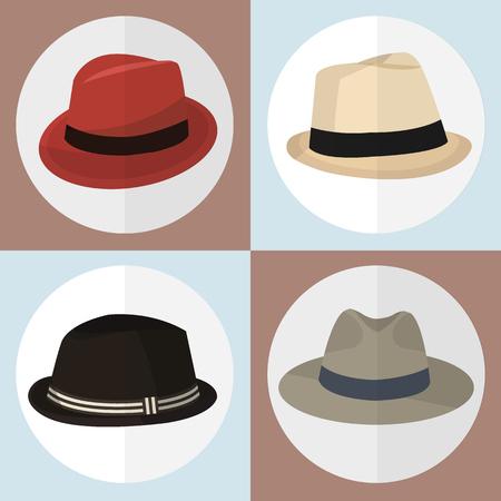 hombre con sombrero: Colecci�n de iconos sombrero juego genial para cualquier uso. Foto de archivo