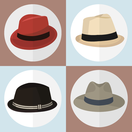 white  hat: Collection of  Hat icons set great for any use.