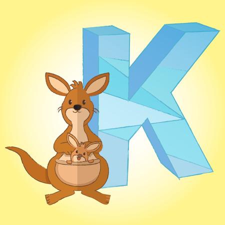 K Alphabet and Kangaroo icon great for any use. photo