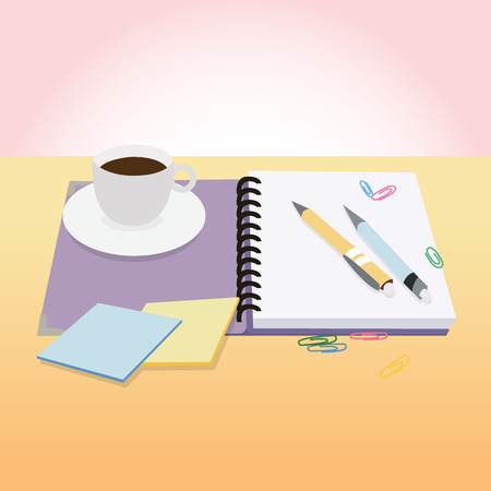 great coffee: BreakTime with Coffee and Notebook and pen icon great for any use.  Stock Photo