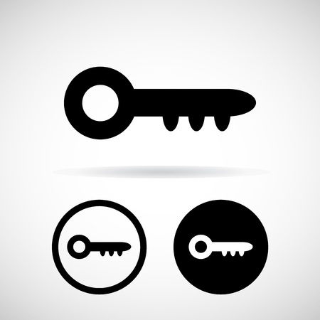 open car door: key icons set great for any use. Vector Stock Photo